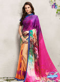 AZ 2240 Orange and Multicolor Satin Georgette Fancy Printed Saree