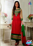 NS 12009 Red and Green Designer Straight Suit