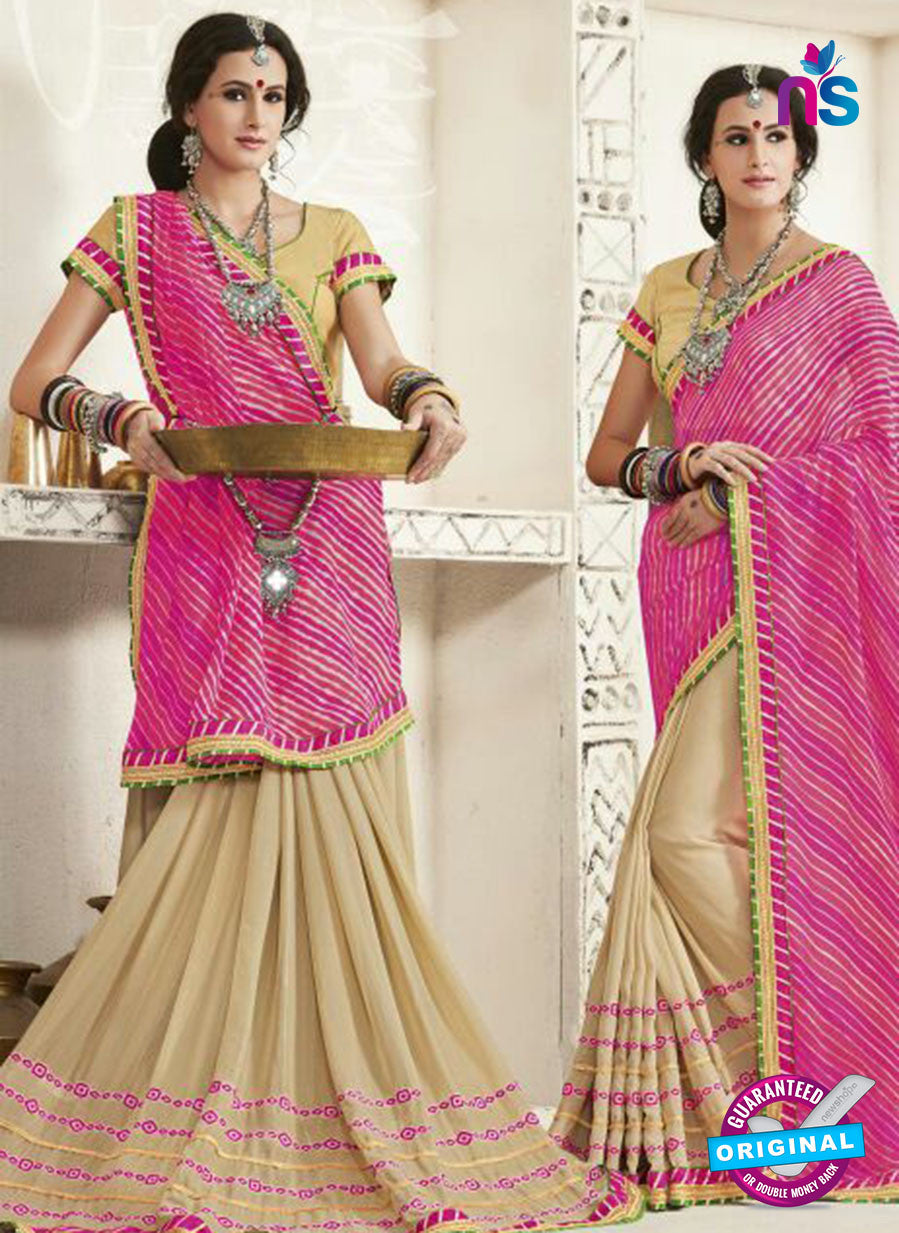 AZ 2254 Beige and Pink Georgette Party Wear Saree