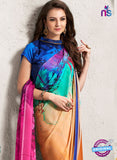 AZ 2240 Orange and Multicolor Satin Georgette Fancy Printed Saree - Sarees - NEW SHOP