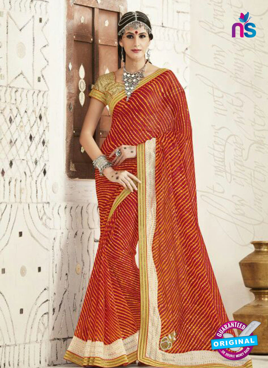 AZ 2255 Red and Yellow Georgette Party Wear Saree
