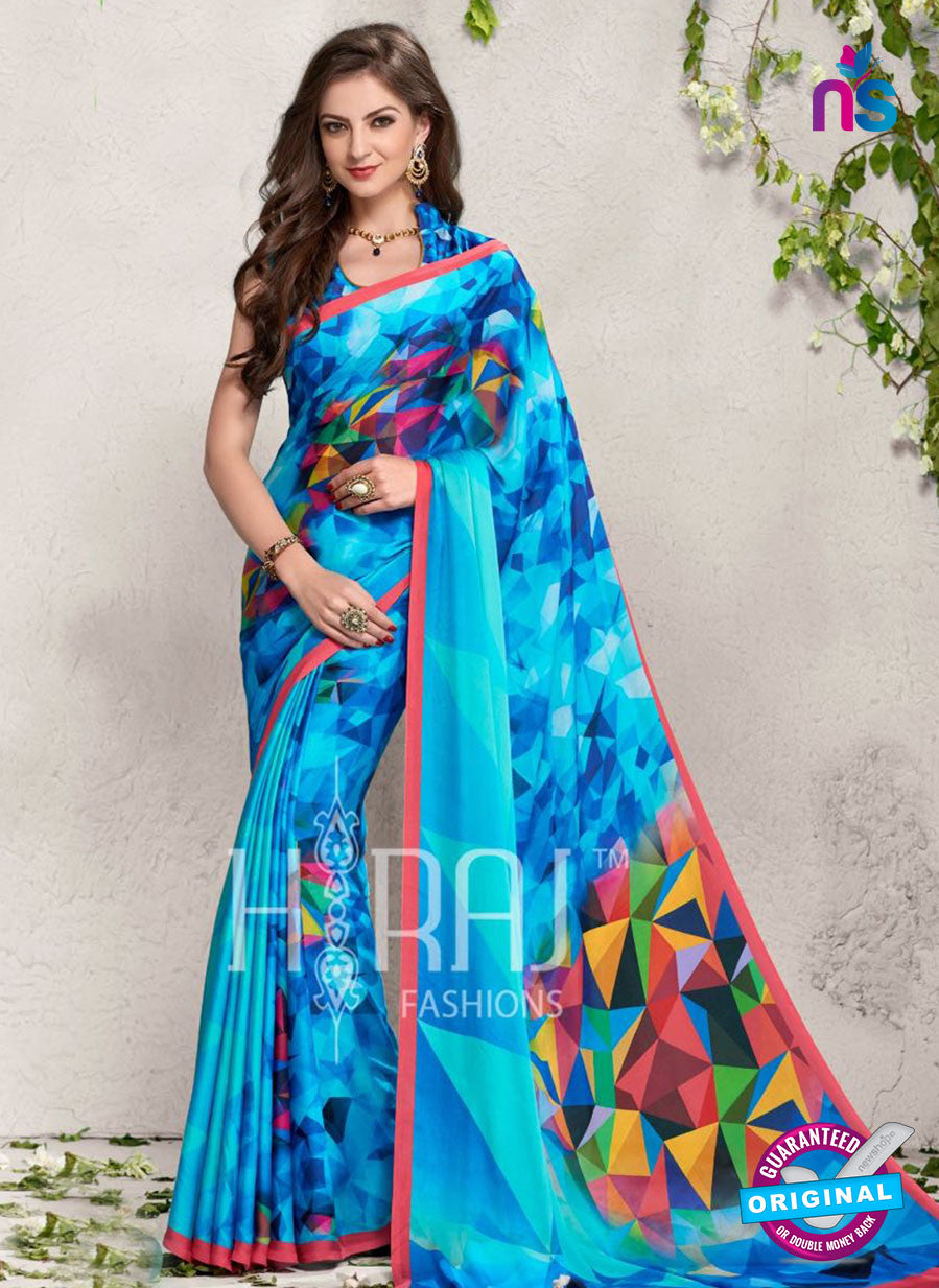 AZ 2242 Sky Blue Satin Georgette Fancy Printed Saree