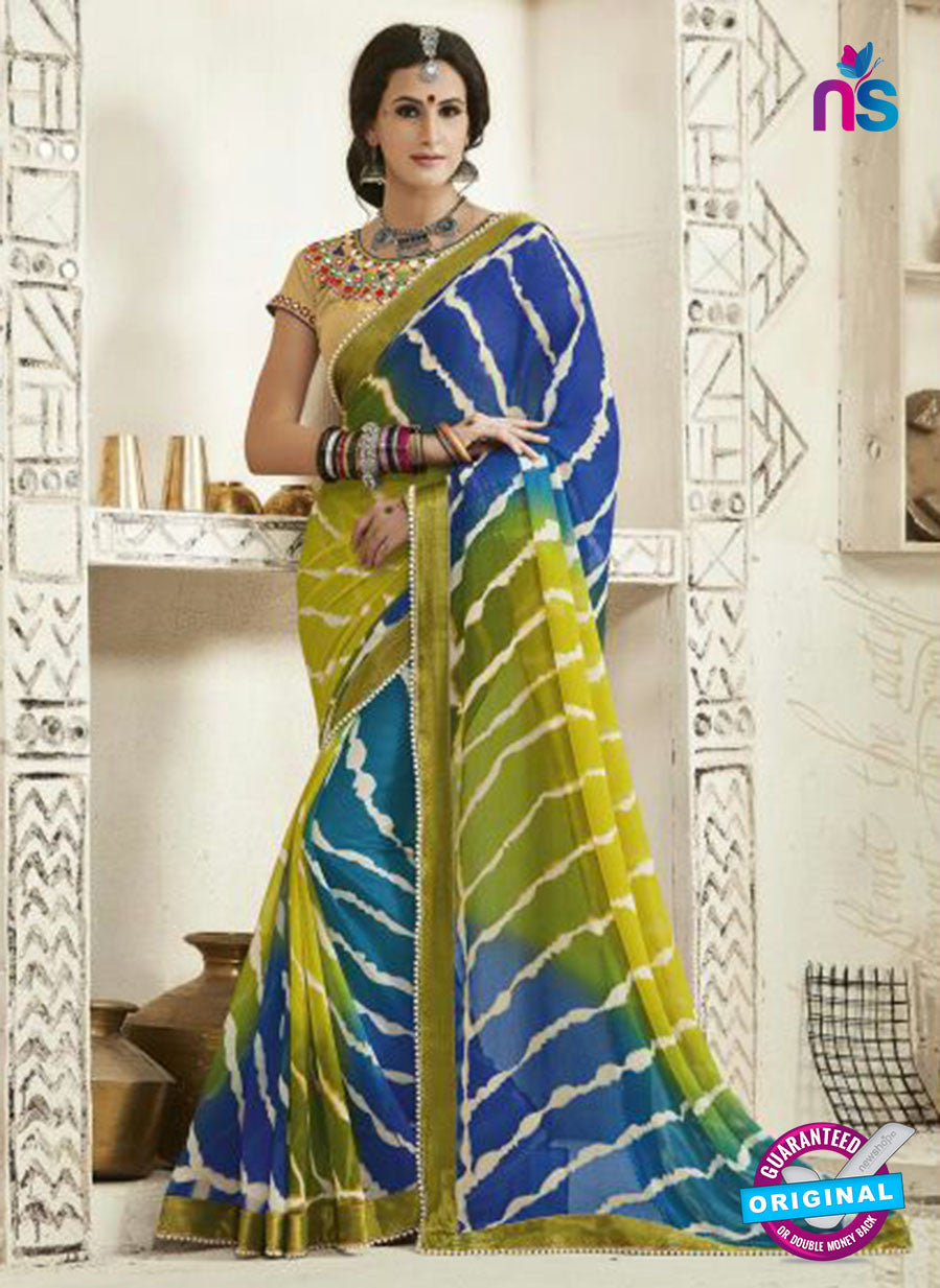 AZ 2256 Green and Blue Georgette Party Wear Saree