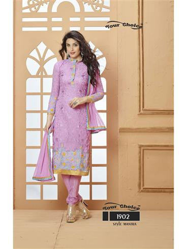 NS11744  Purple Georgette Satin Daily Wear Straight Suit