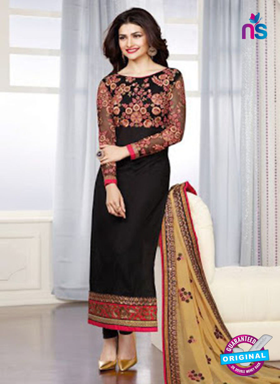 Vinay Fashion 3666 Black And Beige Georgette Party Wear Suit