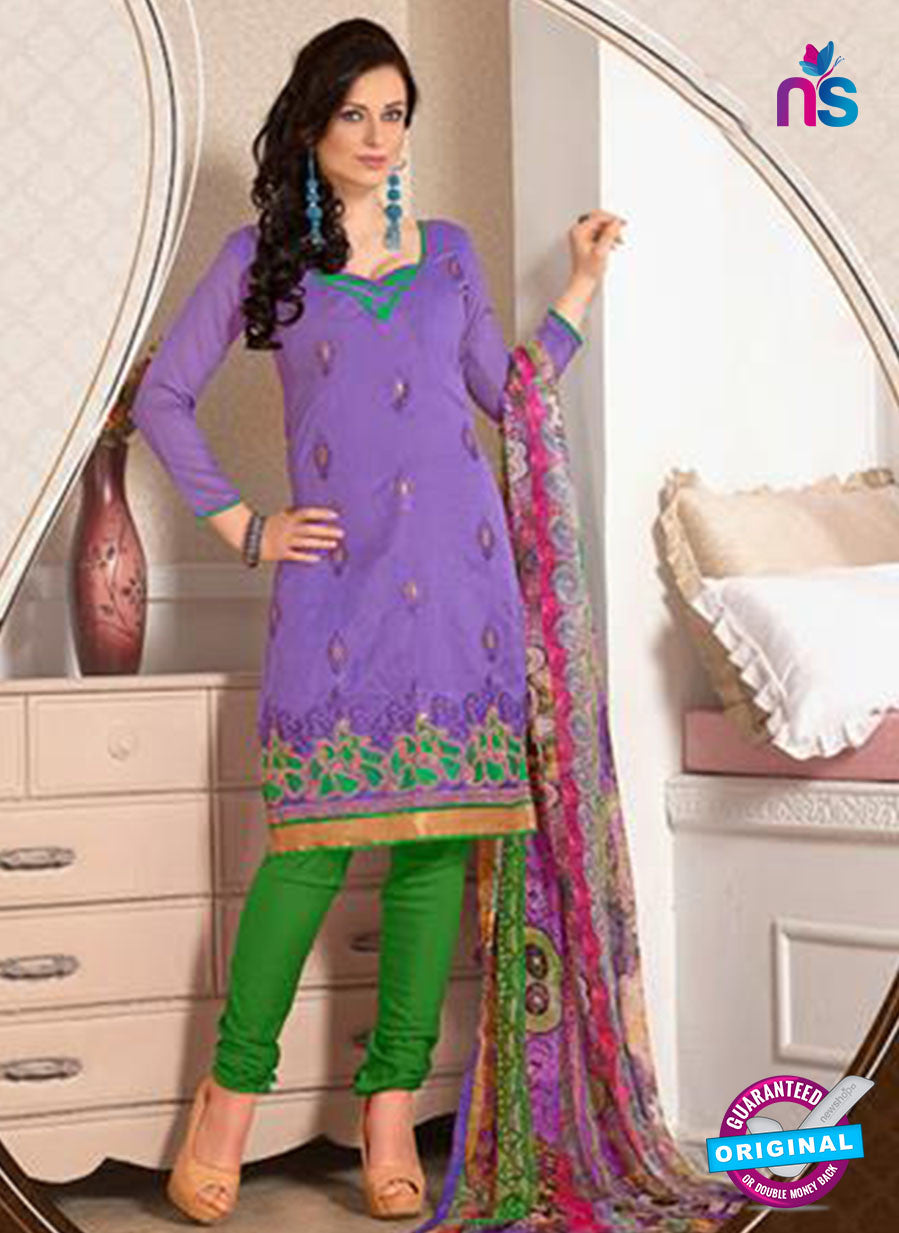 NS12273 Purple and Green Chudidar Suit