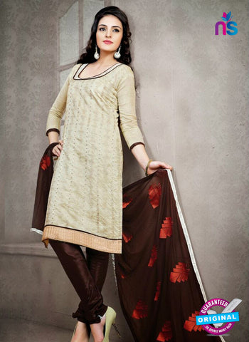 NS12227 Ivory Red and Dark Brown Chudidar Suit