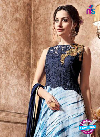 Maskeen 3702 Blue Silk and Net indo Western Suit