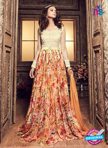 Maskeen 3705 Orange Chiffon Indo Western Suit