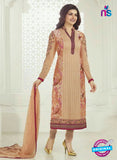 3756 Brown Embroidered Georgette Party Wear Straight Suit