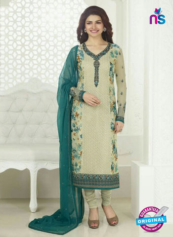 3757 Beige and Blue Embroidered Georgette Party Wear Straight Suit