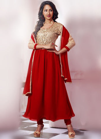 SC 14318 Maroon Georgette Anarkali Suit