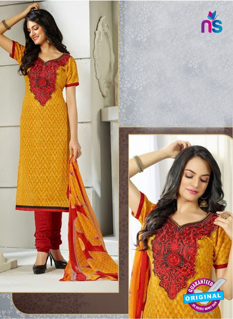 NS 12011 Yellow and Red Designer Pajami Suit