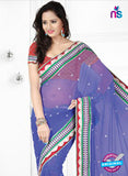 NS12228 Light Blue and Red Designer Saree