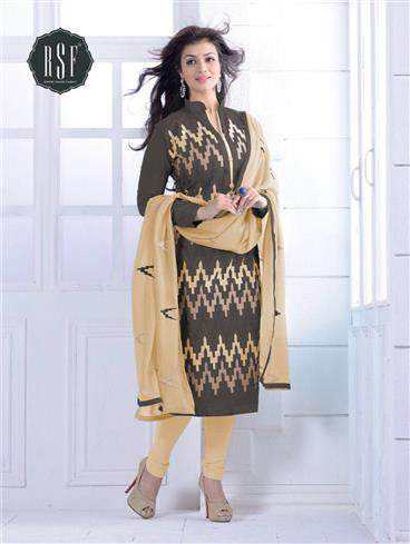 NS11551 F Grey and beige Party Wear Silk Chanderi Straight Suit