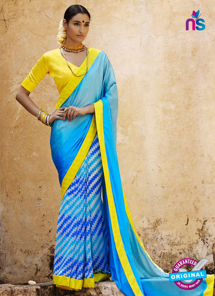 NS11688 SkyBlue and Yellow Satin Georgette Saree