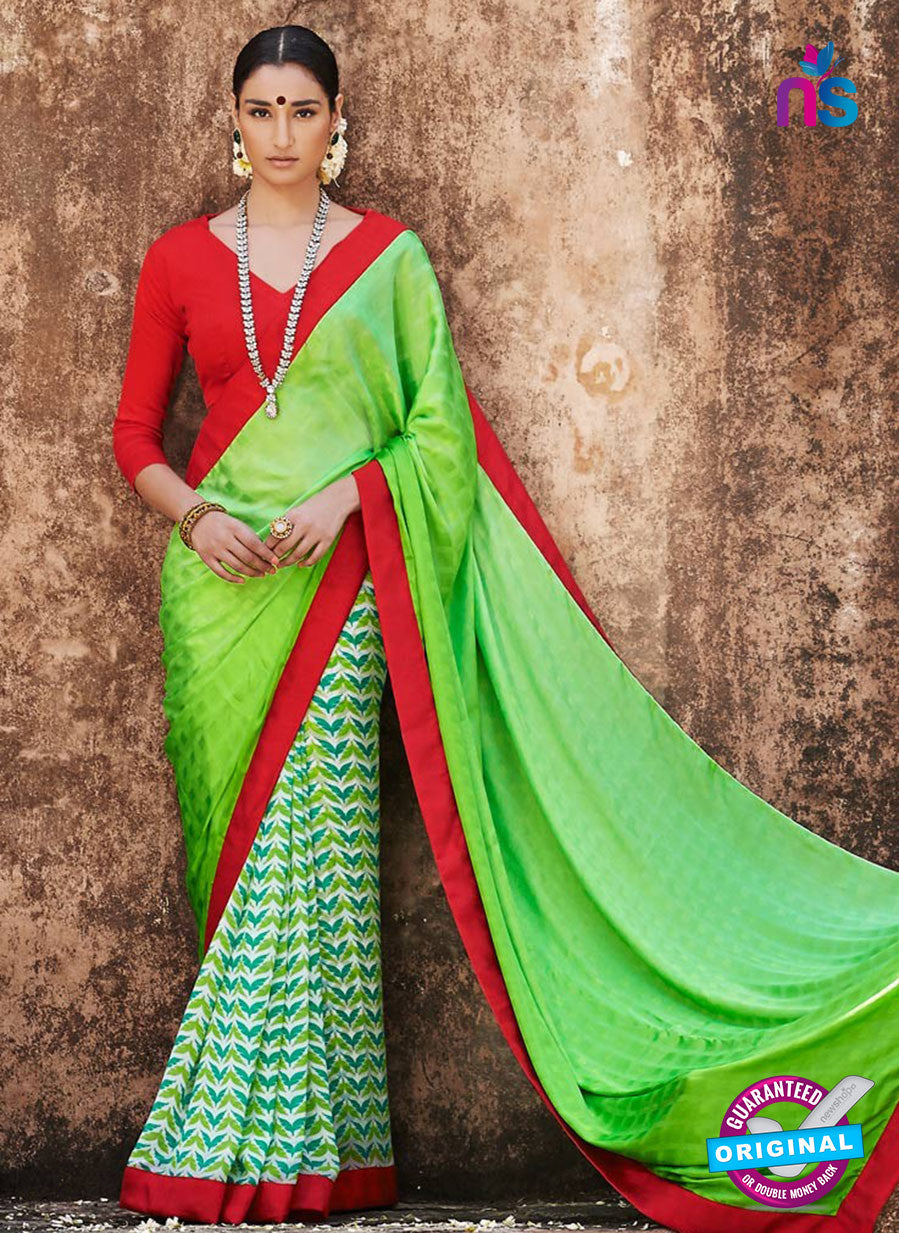 NS11690  LightGreen and Red Satin Georgette Saree