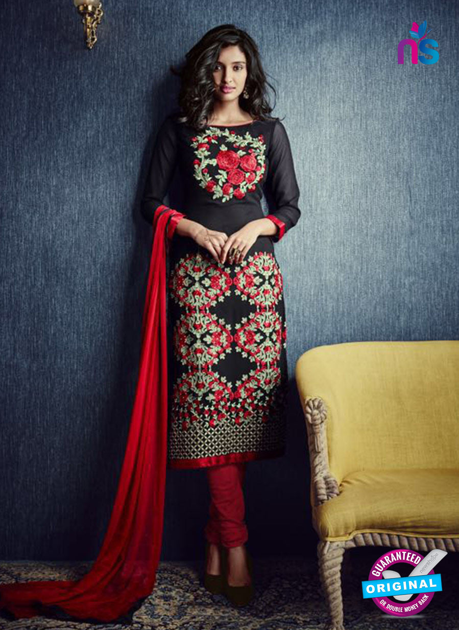 AZ 2318 Black and Red Georgette Party Wear Suit