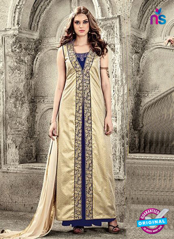 Maskeen 3803 Blue And Beige Velvet Party Wear Suit