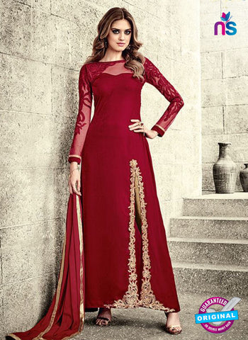 Maskeen 3805 Red Velvet Party Wear Suit