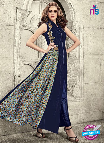 Maskeen 3807 Blue Velvet Party Wear Suit