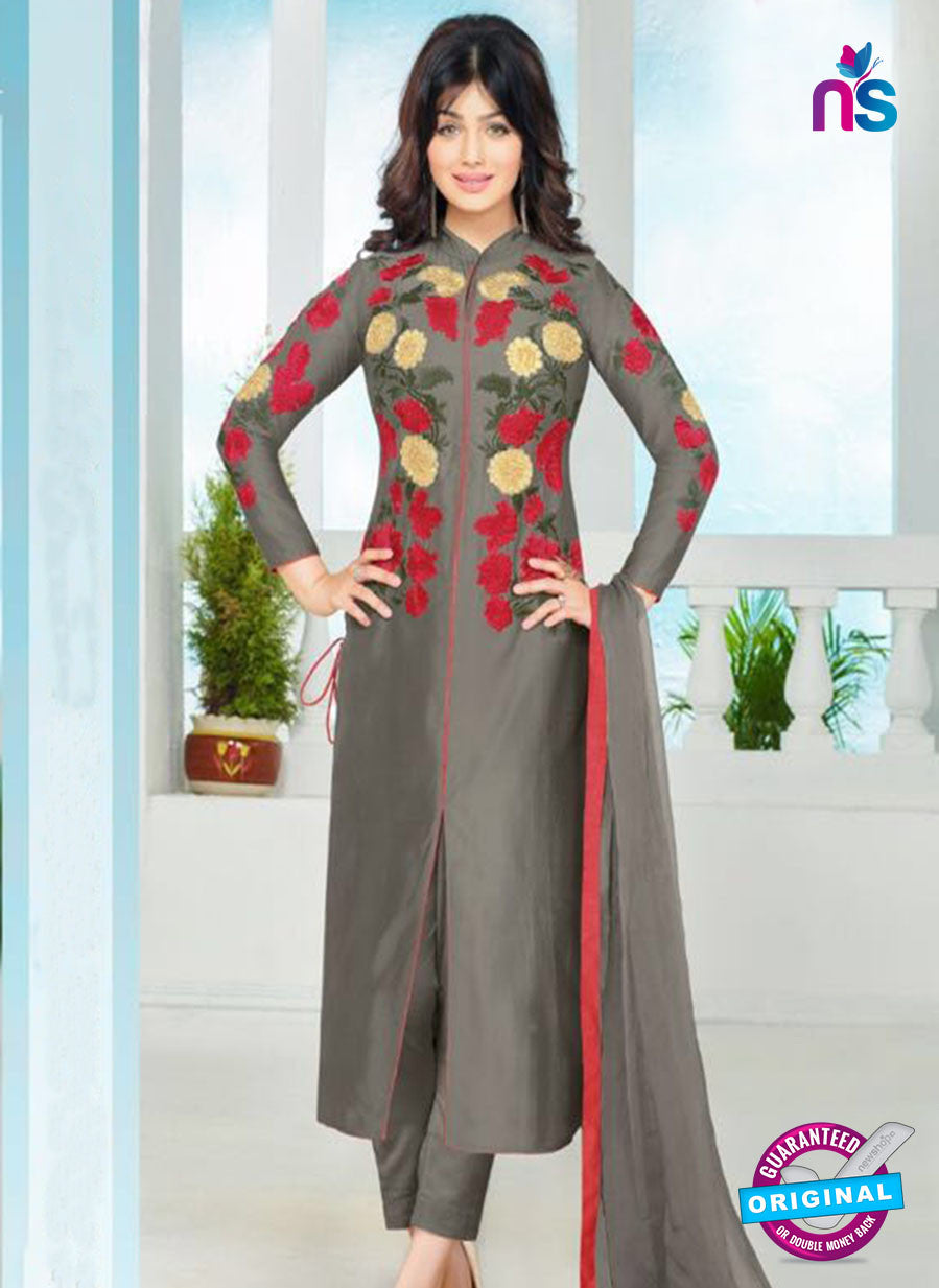SC 12355 Grey and Multicolor Embroidered Pure Cambric Top Pakistani Straight Suit