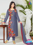 SC 12359 Blue and Multicolor Embroidered Pure Cambric Top Pakistani Straight Suit