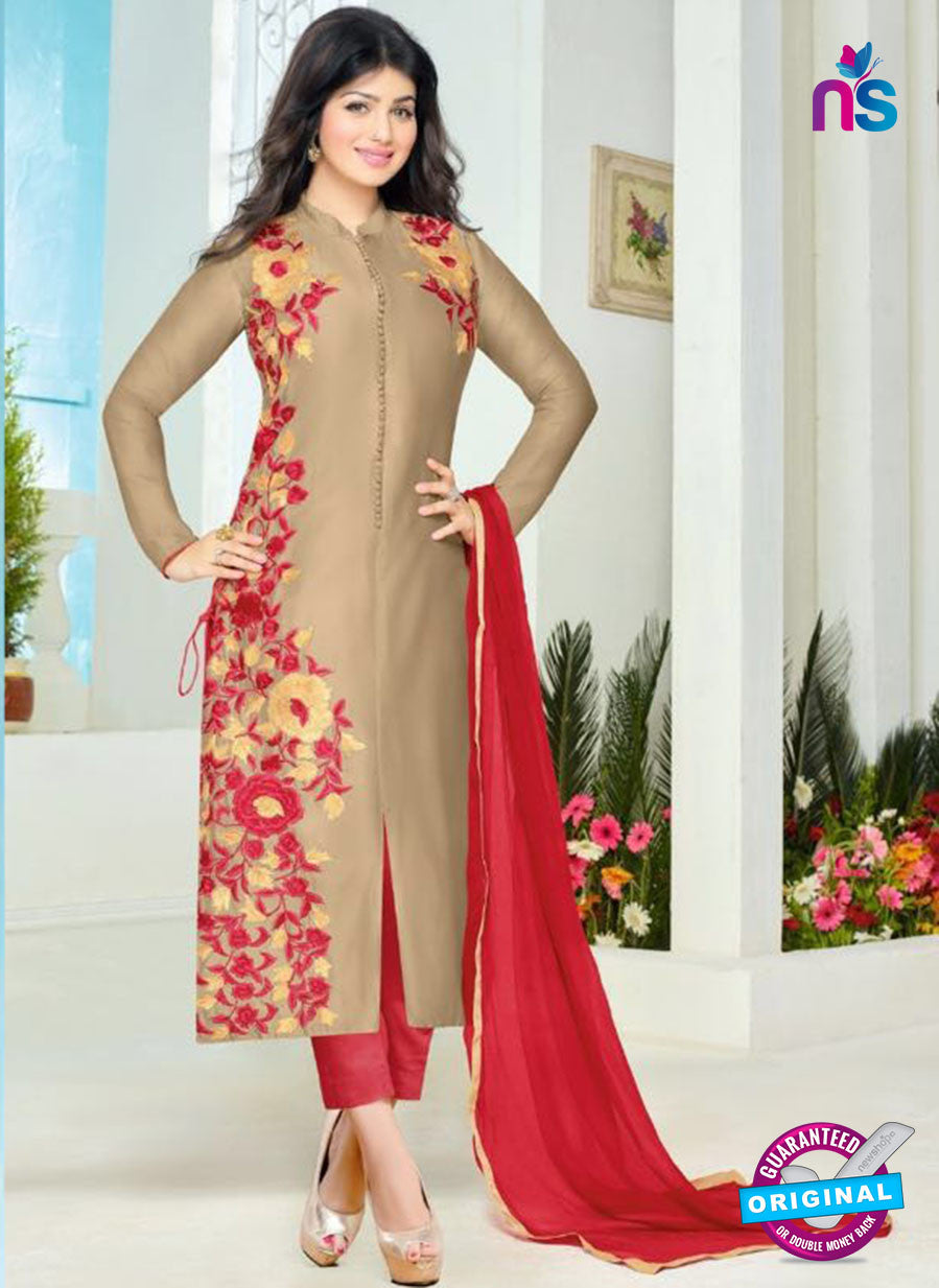 SC 12360 Beige and Red Embroidered Pure Cambric Top Pakistani Straight Suit