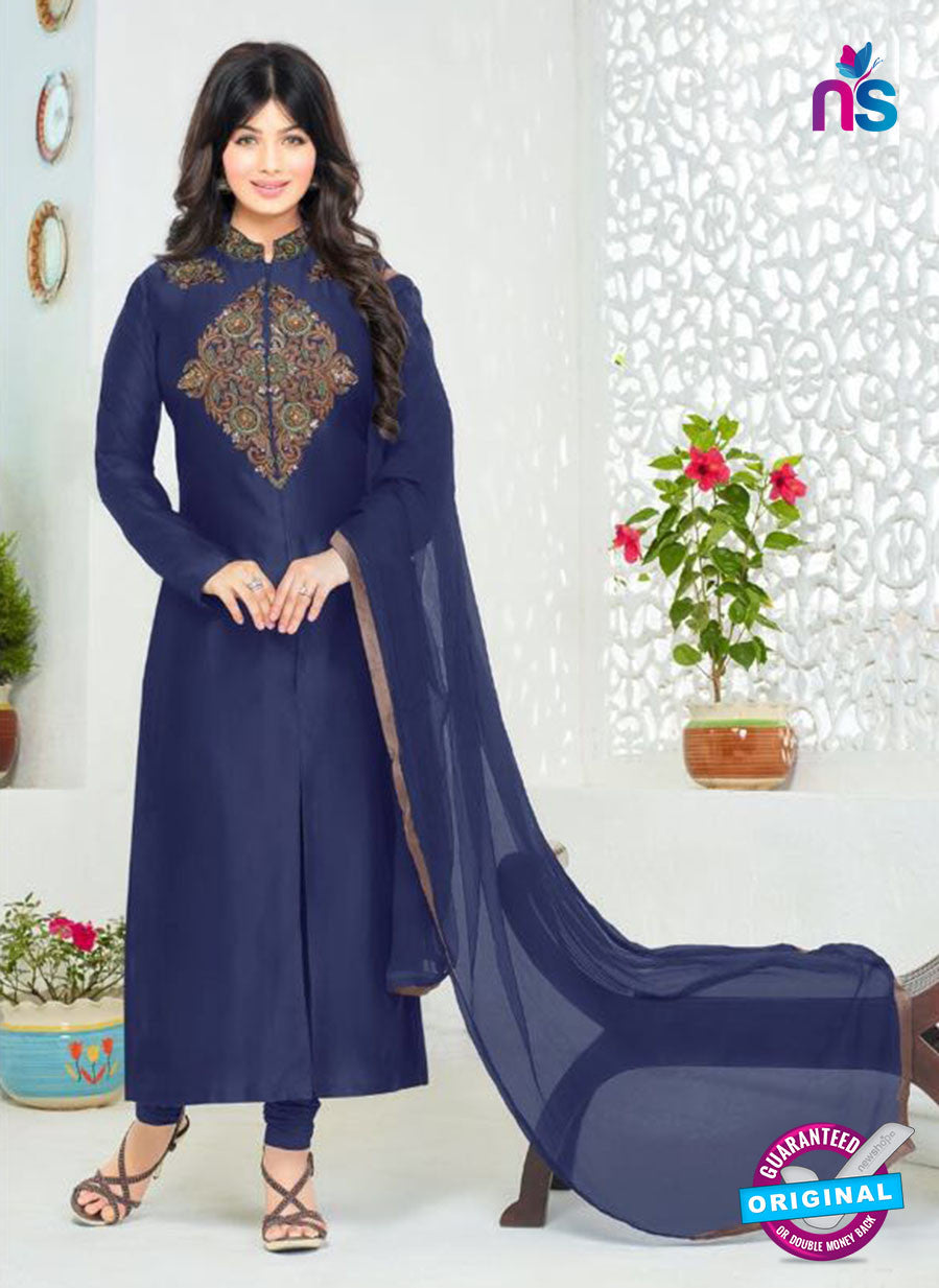 SC 12356 Blue Embroidered Pure Cambric Top Pakistani Straight Suit