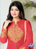 SC 12358 Red and Beige Embroidered Pure Cambric Top Pakistani Straight Suit