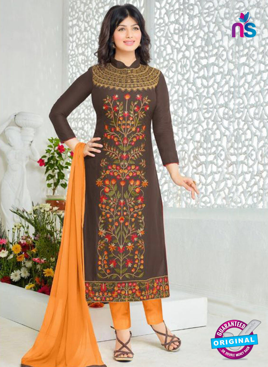 SC 12357 Brown and Multicolor Embroidered Pure Cambric Top Pakistani Straight Suit