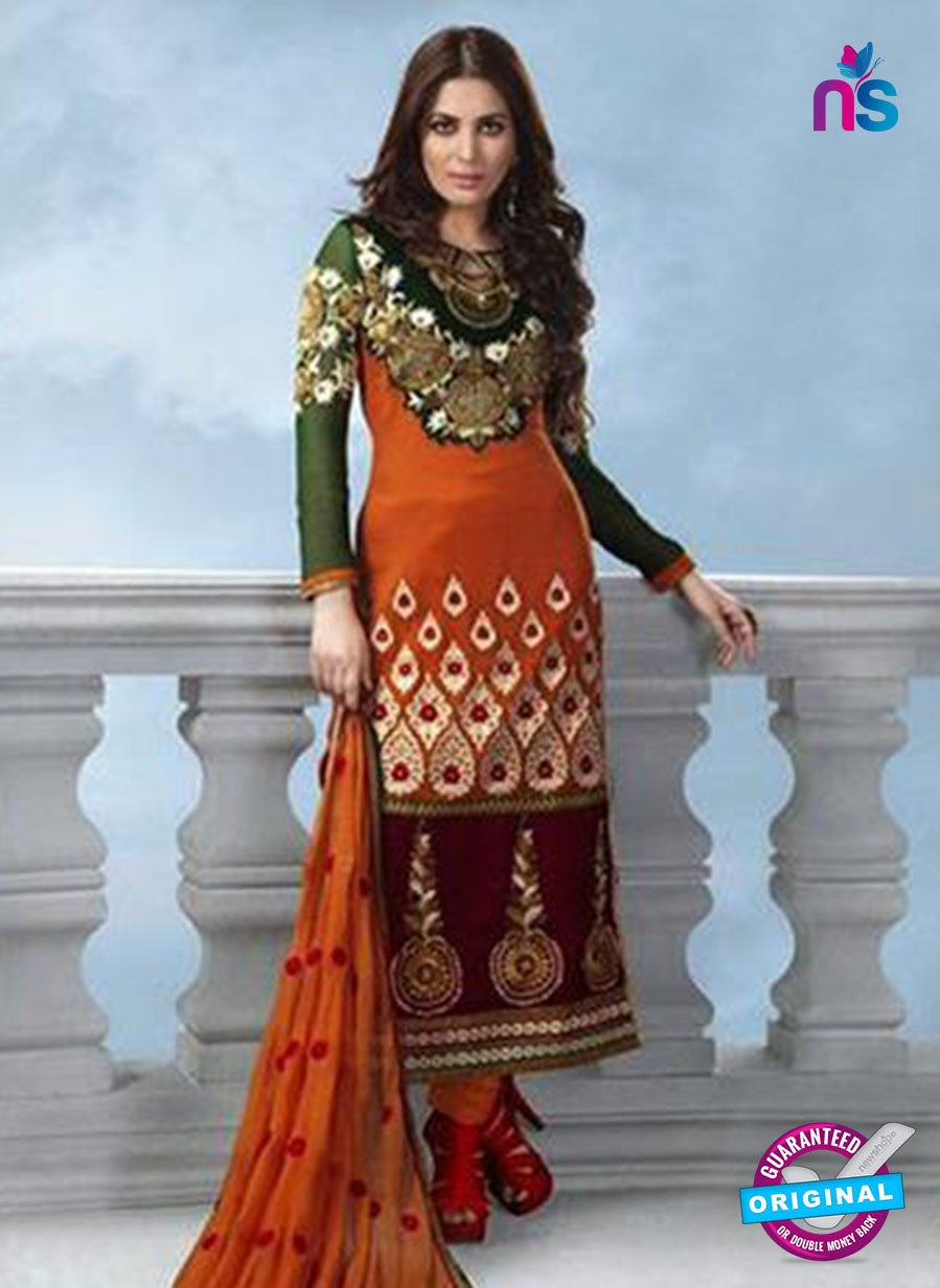 NS12229 Light Brown and Dark Green Anarkali Suit