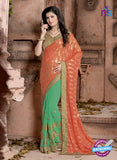 SC 13079 Orange and Green Jacquard and Georgette Party Wear Designer Saree