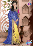 SC 13080 Blue and Yellow Jacquard and Georgette Party Wear Designer Saree