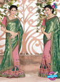 SC 13078 Green and Pink Jacquard and Georgette Party Wear Designer Saree