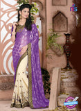 SC 13076 Purple and Beige Jacquard and Georgette Party Wear Designer Saree
