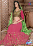 SC 13077 Green and Pink Jacquard Georgette Party Wear Designer Saree