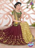SC 13070 Yellow and Maroon Jacquard and  Georgette Party Wear Designer Saree
