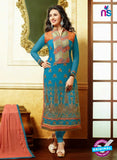 NS10645 Blue Embroidered Georgette Straight Suit
