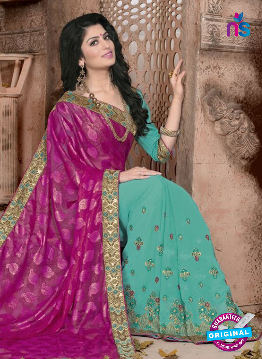 SC 13071 Magenta and Blue Jacquard and Georgette Party Wear Designer Saree