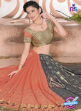 SC 13075 Peach and Grey Jacquard and Georgette Party Wear Designer Saree