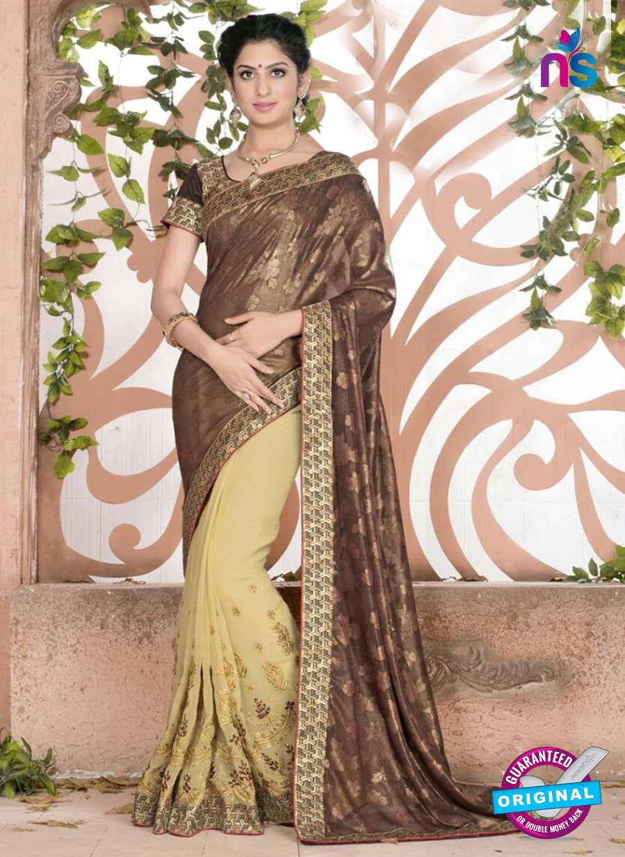 SC 13082 Brown and Yellow Jacquard and Georgette Party Wear Designer Saree