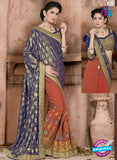 SC 13072 Purple and Orange Jacquard and Georgette Party Wear Designer Saree