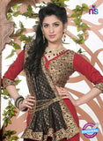 SC 13074 Black and Red Jacquard and Georgette Party Wear Designer Saree