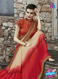 AZ 3720 Beige and Red Georgette Formal Saree