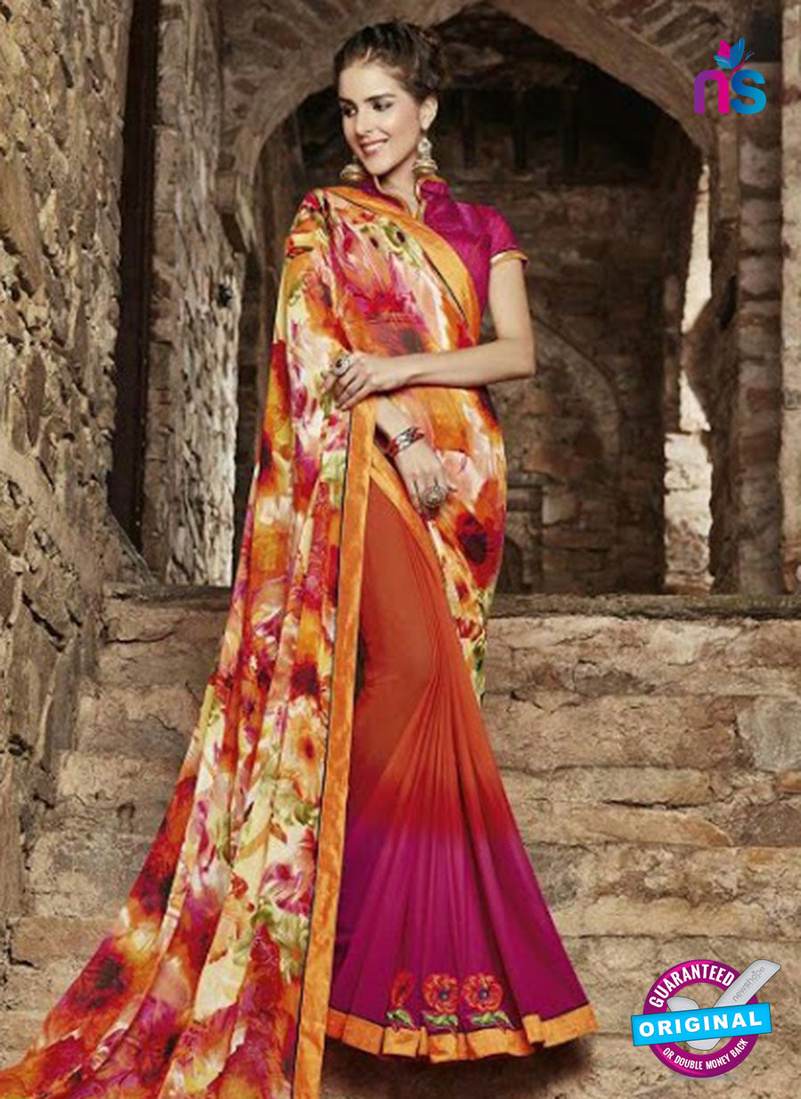 AZ 3727 Orange and Pink Georgette Formal Saree