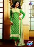 NS10644 Beige and Green Embroidered Georgette Straight Suit