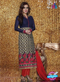 SC 13321 Blue and Red Embroidered Georgette Designer Suit