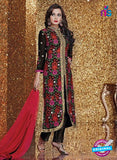 SC 13320 Black and Multicolor Embroidered Georgette Designer Suit