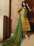 Ganga 3942 Green & Yellow Color Satin Cotton Designer Suit